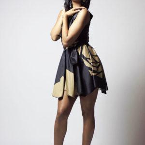 V Front Flared Short Dress